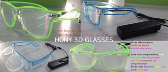 El Wire Plastic Diffraction Glasses With LED Lighting For Christmas Festival
