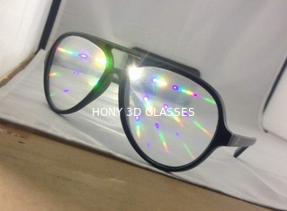 Popular Style Plastic Diffraction Glasses , Rainbow Laser Glasses
