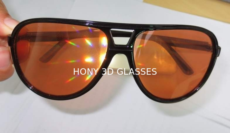 Amber Plastic Diffraction Glasses Spiral