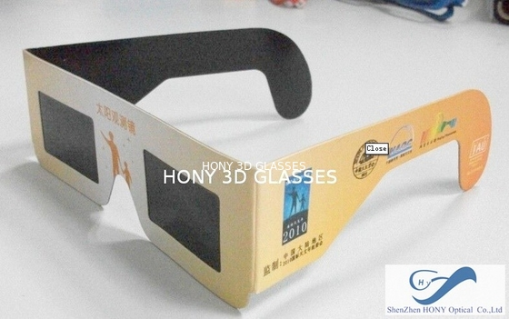 চীন Cheap Paper Frame Solar Eclipse Viewing Glasses With 0.20mm PET Lenses পরিবেশক